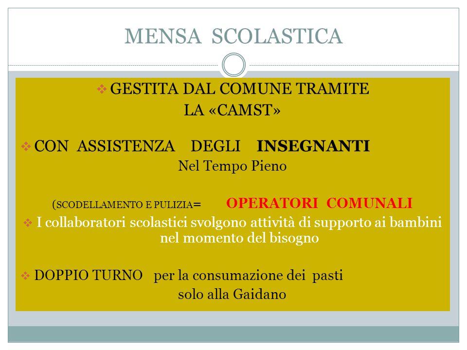 MENSA SCOLASTICA GESTITA DAL COMUNE TRAMITE LA «CAMST»