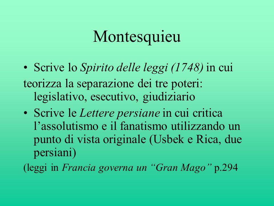 Montesquieu Scrive lo Spirito delle leggi (1748) in cui