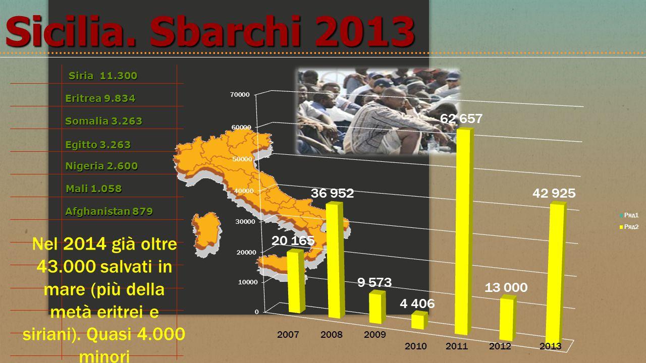 Sicilia. Sbarchi 2013 Siria 11.300. Mali 1.058. Eritrea 9.834. Somalia 3.263. Egitto 3.263. Nigeria 2.600.