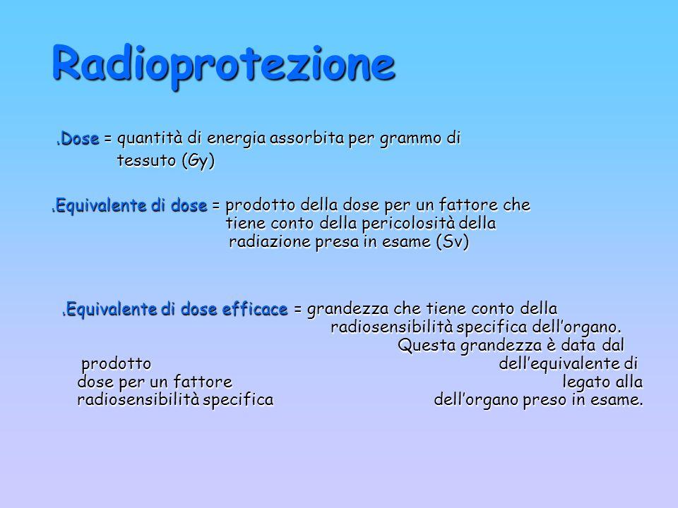 Radioprotezione .Dose = quantità di energia assorbita per grammo di