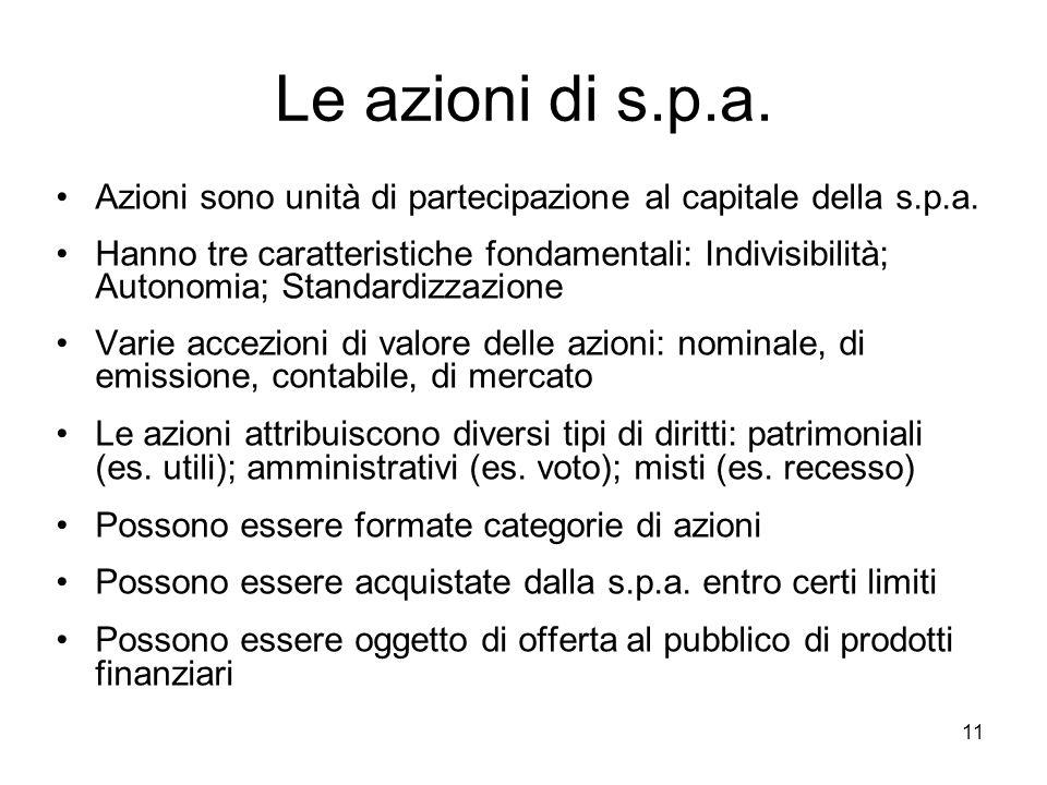 Le azioni di s.p.a. Azioni sono unità di partecipazione al capitale della s.p.a.