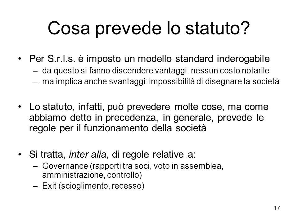 Cosa prevede lo statuto