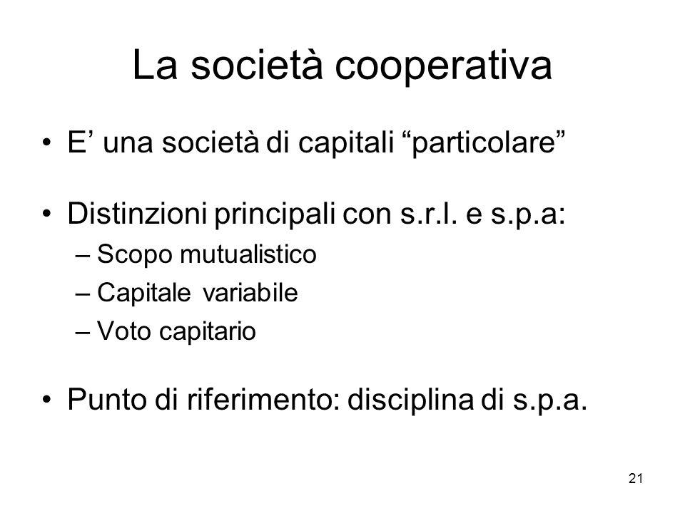 La società cooperativa