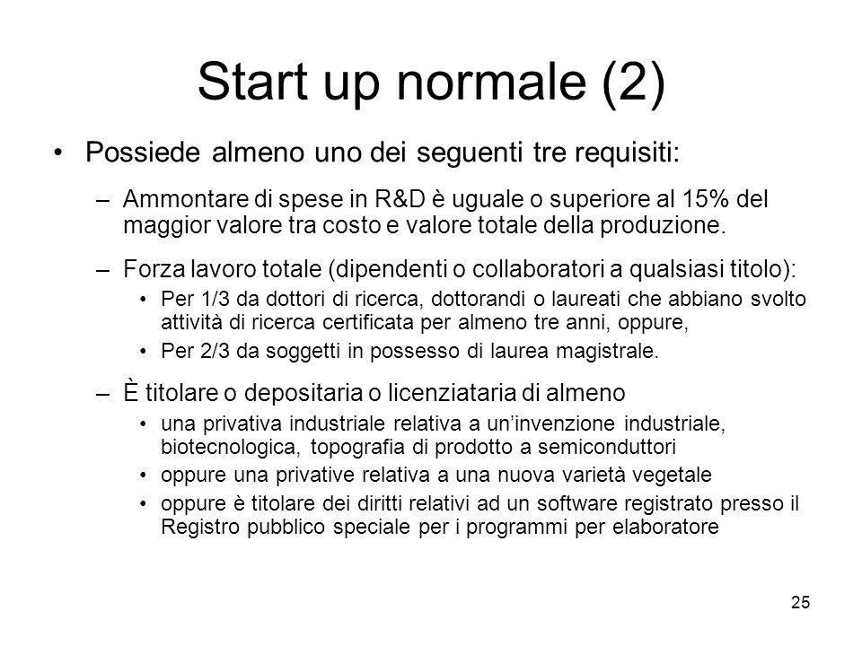 Start up normale (2) Possiede almeno uno dei seguenti tre requisiti: