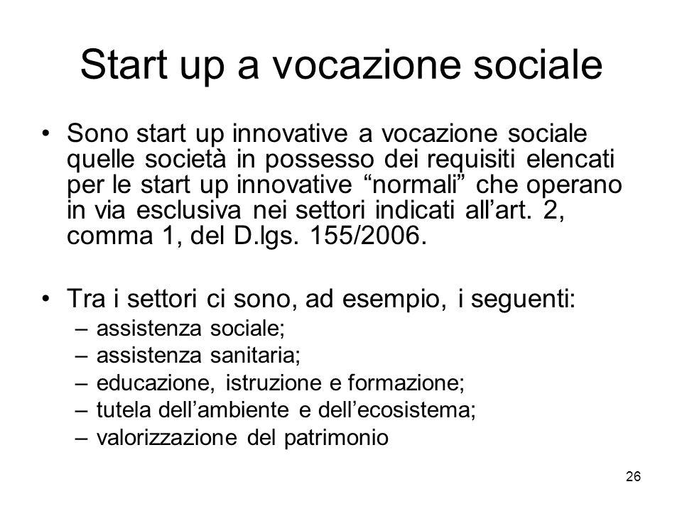Start up a vocazione sociale