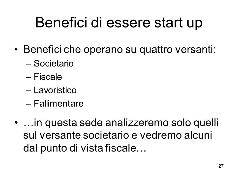 Benefici di essere start up