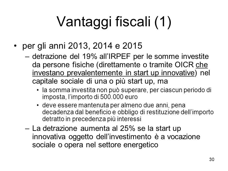 Vantaggi fiscali (1) per gli anni 2013, 2014 e 2015