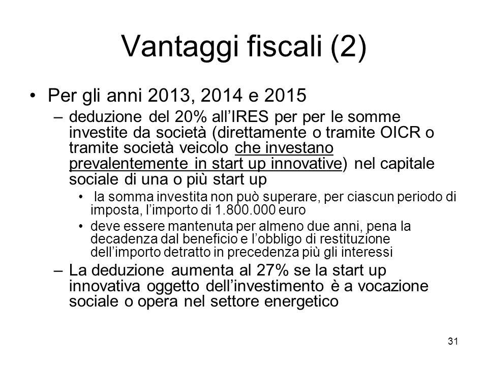 Vantaggi fiscali (2) Per gli anni 2013, 2014 e 2015