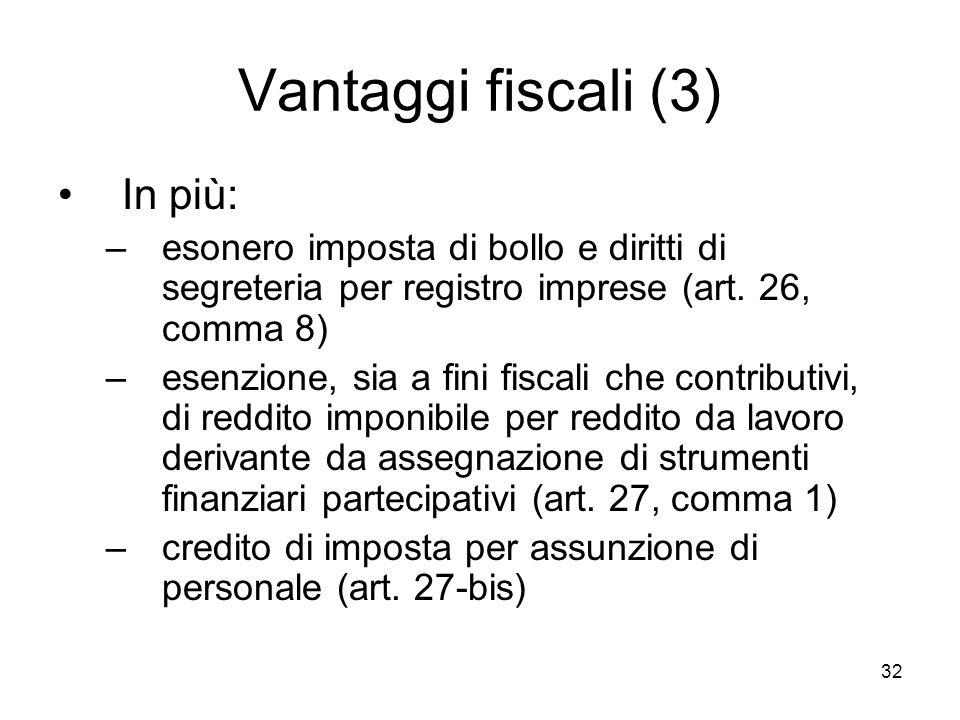 Vantaggi fiscali (3) In più: