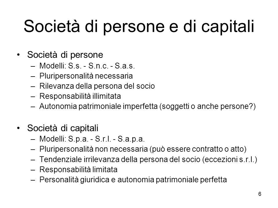 Società di persone e di capitali
