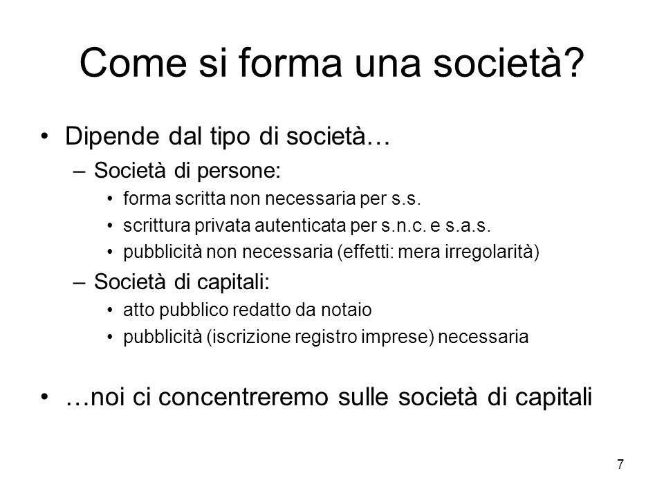 Come si forma una società