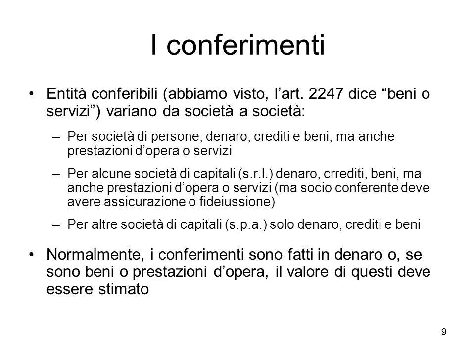 I conferimenti Entità conferibili (abbiamo visto, l'art. 2247 dice beni o servizi ) variano da società a società: