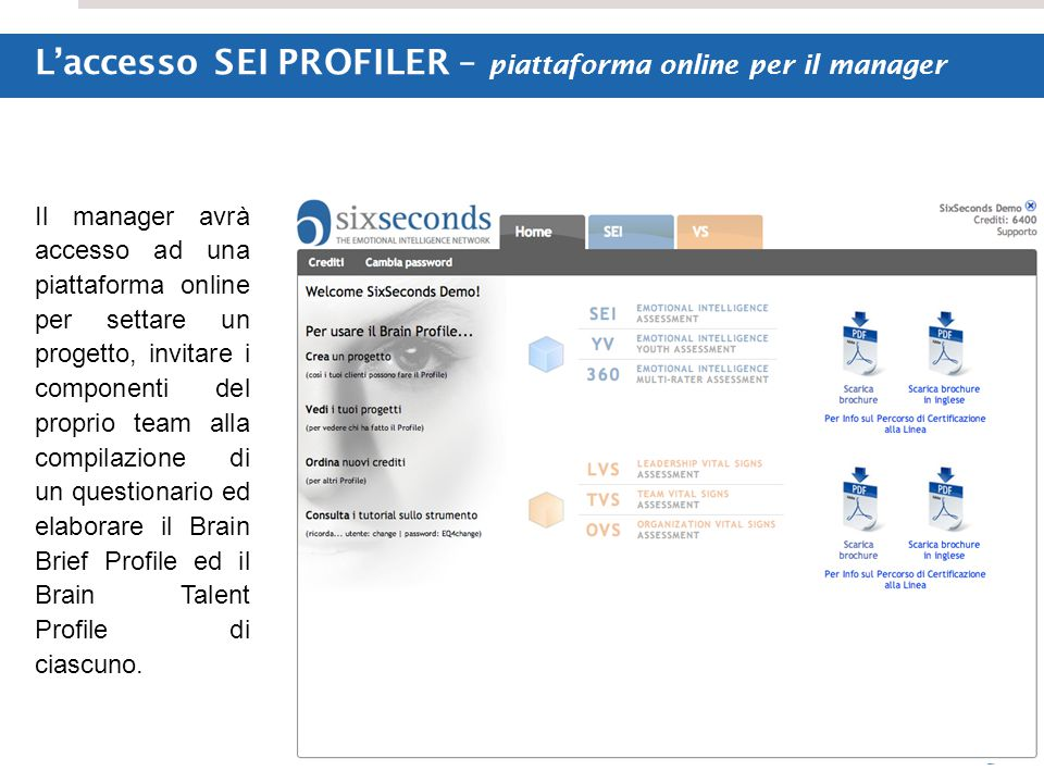 L'accesso SEI PROFILER – piattaforma online per il manager