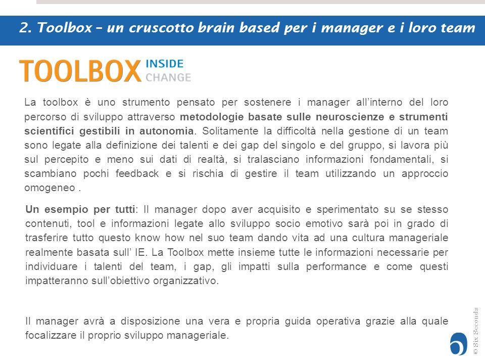 2. Toolbox – un cruscotto brain based per i manager e i loro team