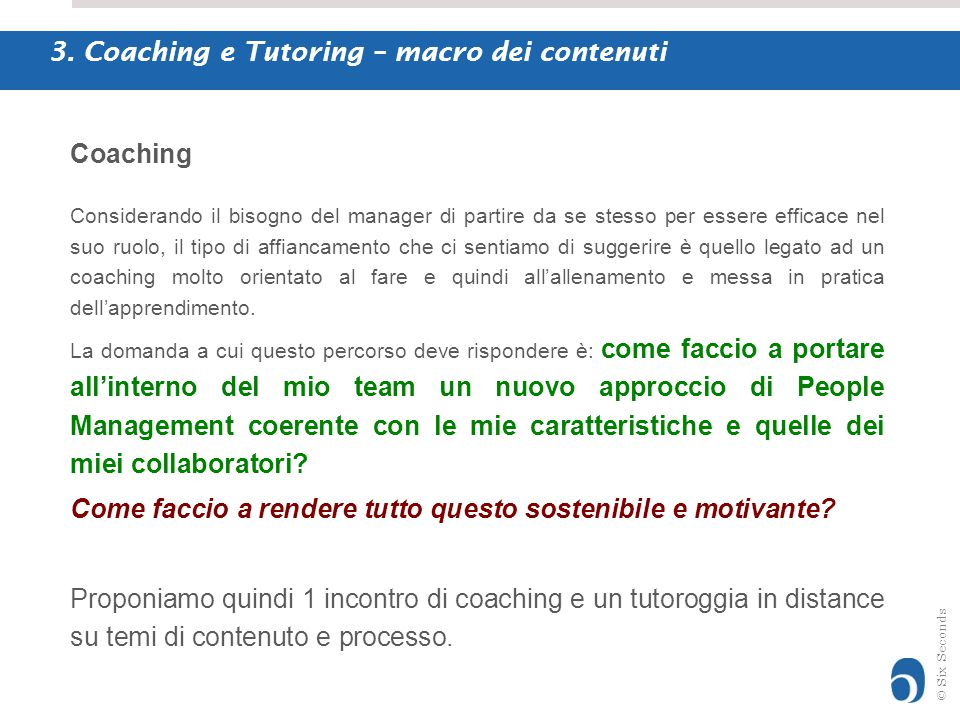 3. Coaching e Tutoring – macro dei contenuti