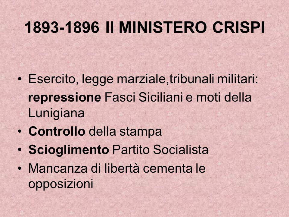 1893-1896 II MINISTERO CRISPI Esercito, legge marziale,tribunali militari: repressione Fasci Siciliani e moti della Lunigiana.