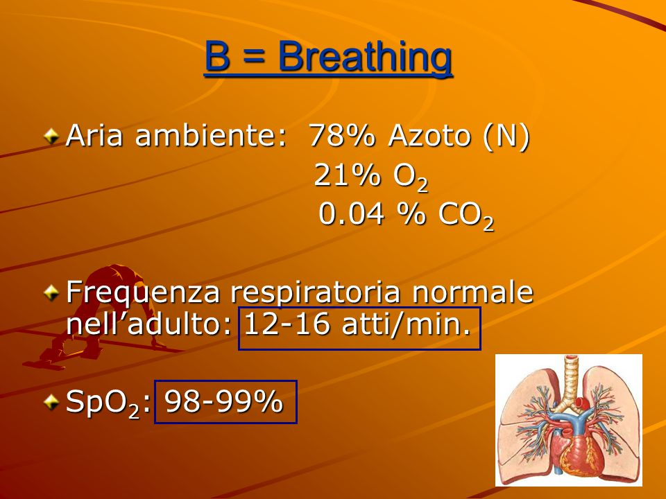 B = Breathing Aria ambiente: 78% Azoto (N) 21% O2 0.04 % CO2