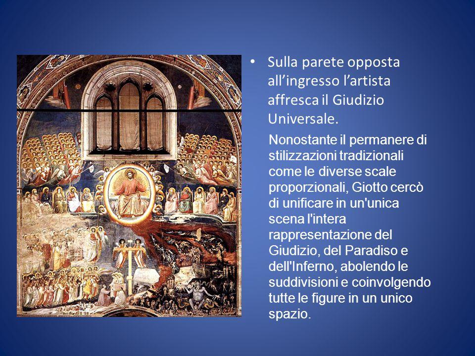 Sulla parete opposta all'ingresso l'artista affresca il Giudizio Universale.