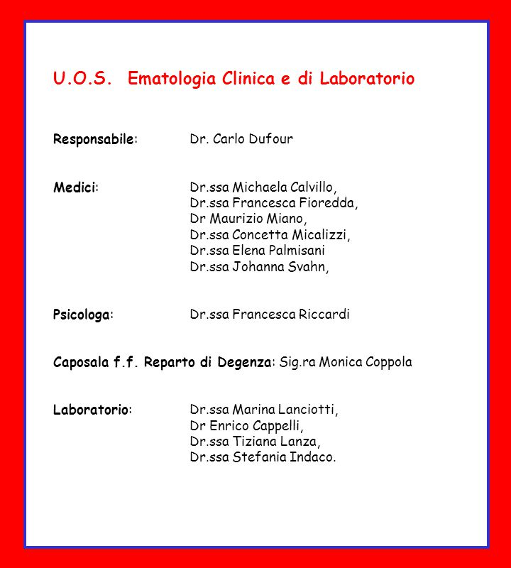 U.O.S. Ematologia Clinica e di Laboratorio
