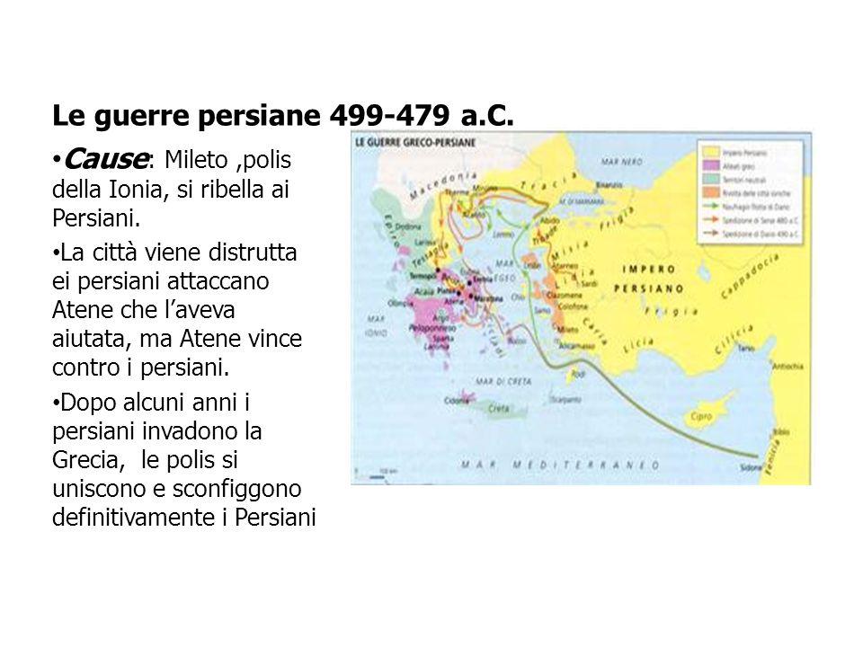 Cause: Mileto ,polis della Ionia, si ribella ai Persiani.