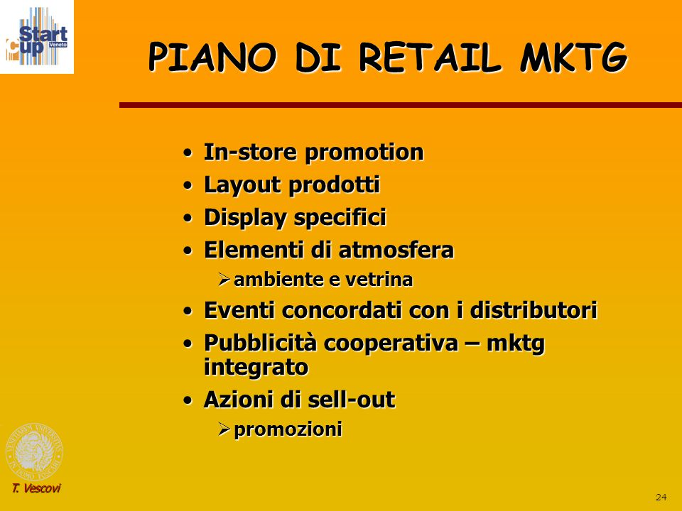 PIANO DI RETAIL MKTG In-store promotion Layout prodotti