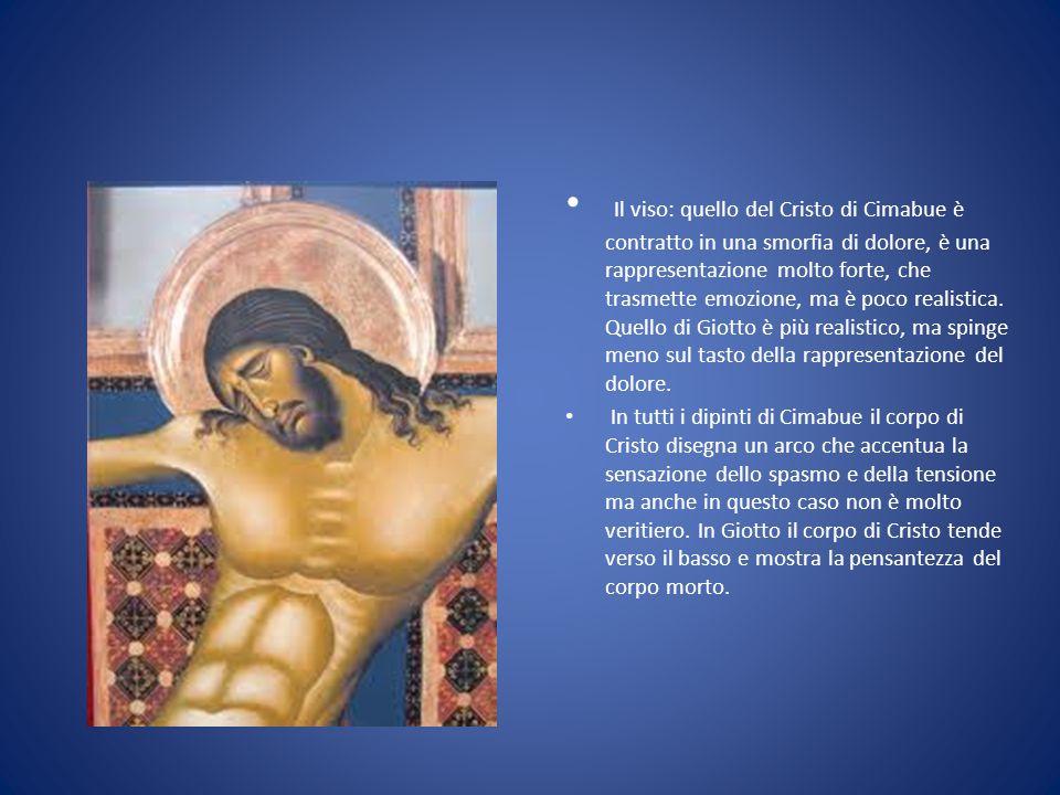 Il viso: quello del Cristo di Cimabue è contratto in una smorfia di dolore, è una rappresentazione molto forte, che trasmette emozione, ma è poco realistica. Quello di Giotto è più realistico, ma spinge meno sul tasto della rappresentazione del dolore.