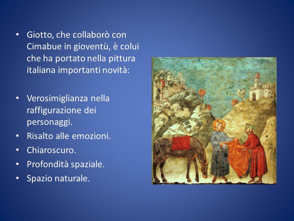 Giotto, che collaborò con Cimabue in gioventù, è colui che ha portato nella pittura italiana importanti novità: