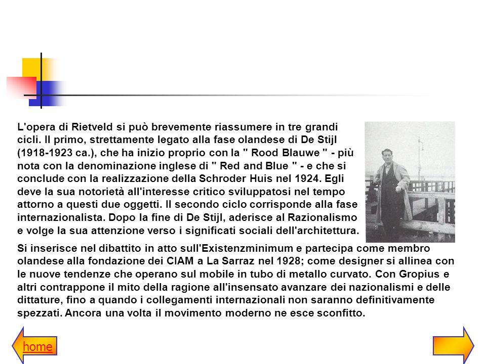 L opera di Rietveld si può brevemente riassumere in tre grandi cicli