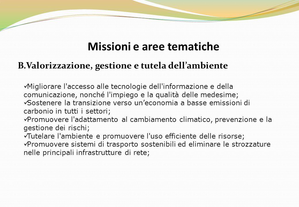 Missioni e aree tematiche