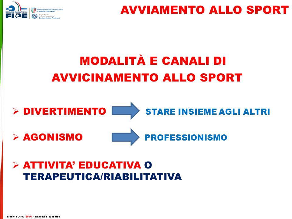Modalità e canali di AVVIAMENTO ALLO SPORT avvicinamento allo sport