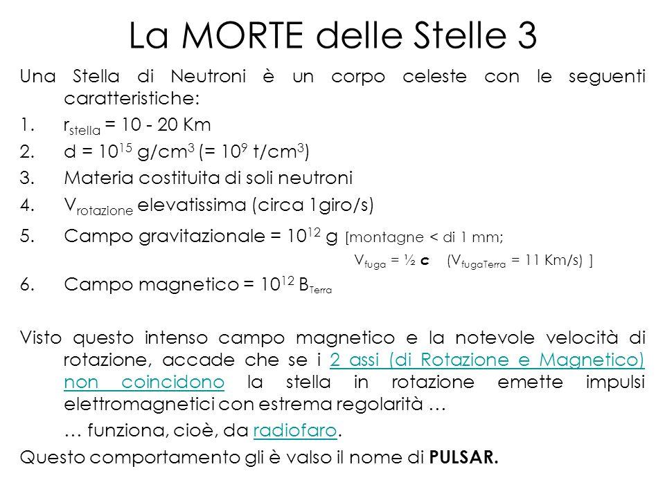 La MORTE delle Stelle 3 Una Stella di Neutroni è un corpo celeste con le seguenti caratteristiche: rstella = 10 - 20 Km.