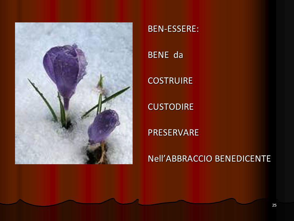 BEN-ESSERE: BENE da COSTRUIRE CUSTODIRE PRESERVARE Nell'ABBRACCIO BENEDICENTE