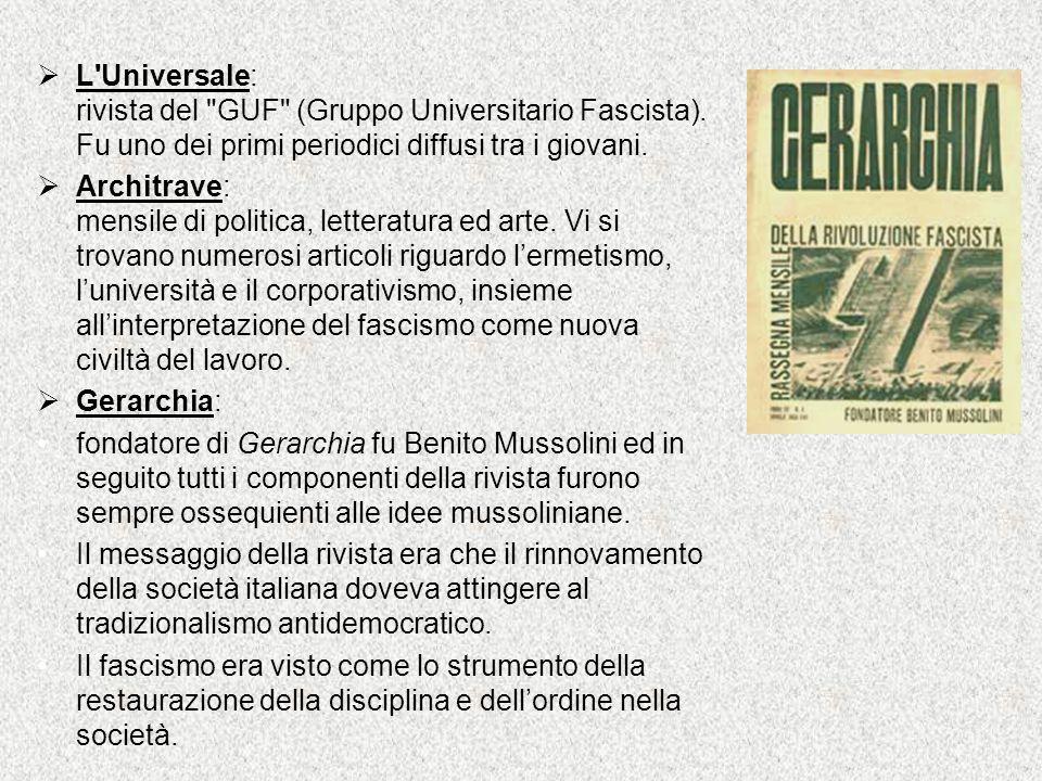 L Universale: rivista del GUF (Gruppo Universitario Fascista)