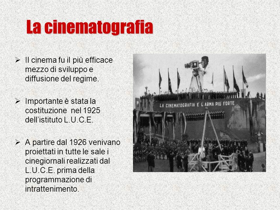 La cinematografia Il cinema fu il più efficace mezzo di sviluppo e diffusione del regime.