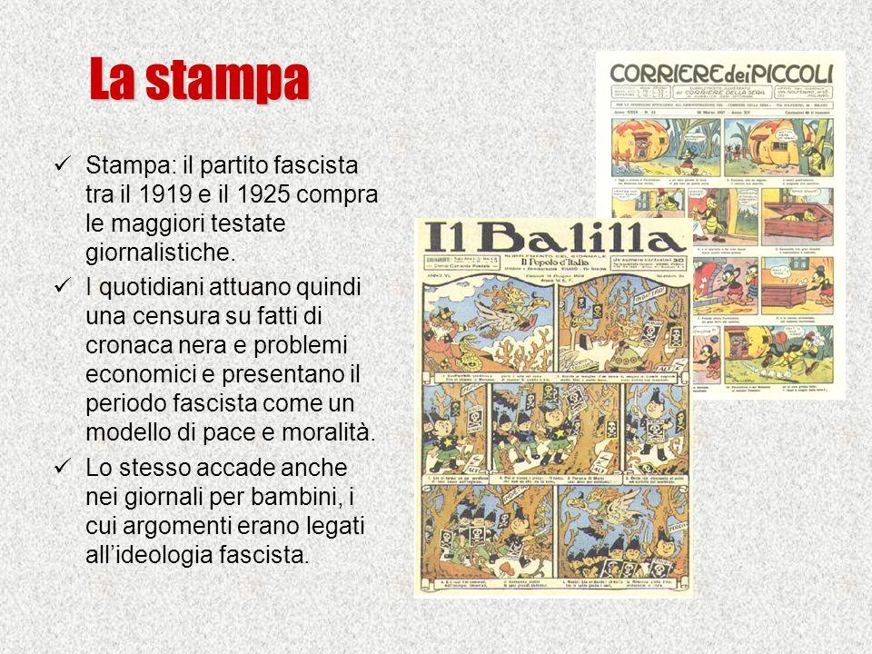 La stampa Stampa: il partito fascista tra il 1919 e il 1925 compra le maggiori testate giornalistiche.