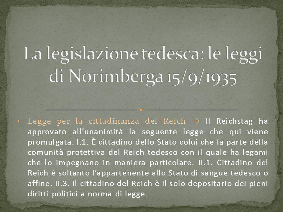 La legislazione tedesca: le leggi di Norimberga 15/9/1935
