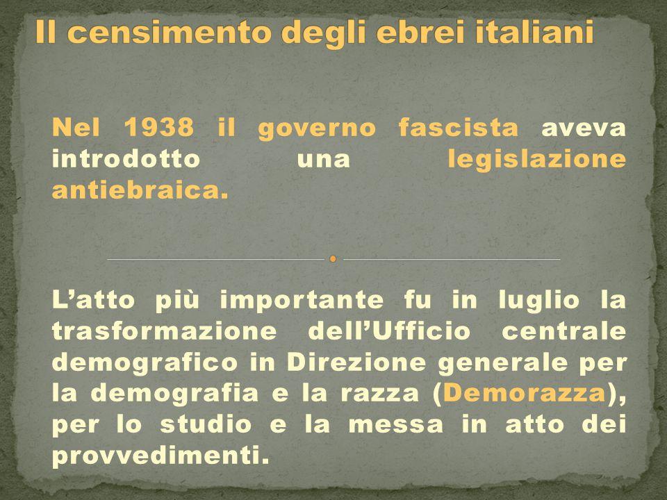 Il censimento degli ebrei italiani