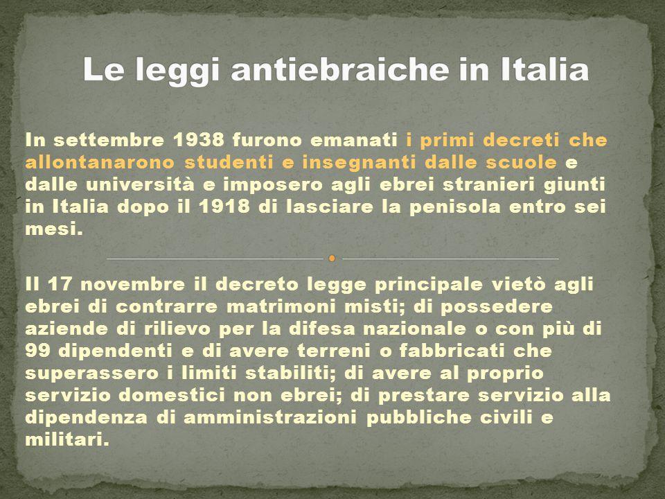 Le leggi antiebraiche in Italia
