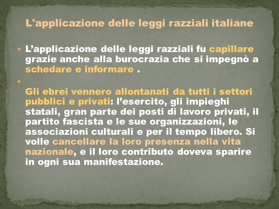 L applicazione delle leggi razziali italiane