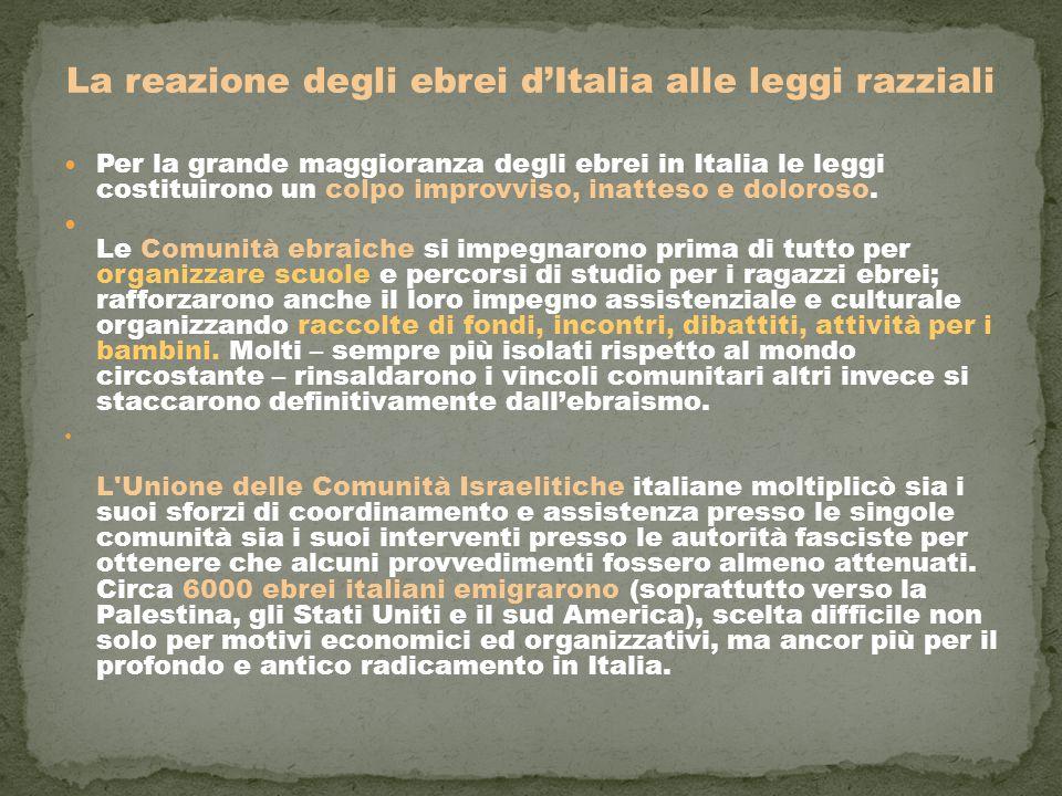 La reazione degli ebrei d'Italia alle leggi razziali