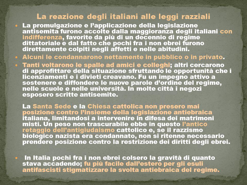 La reazione degli italiani alle leggi razziali