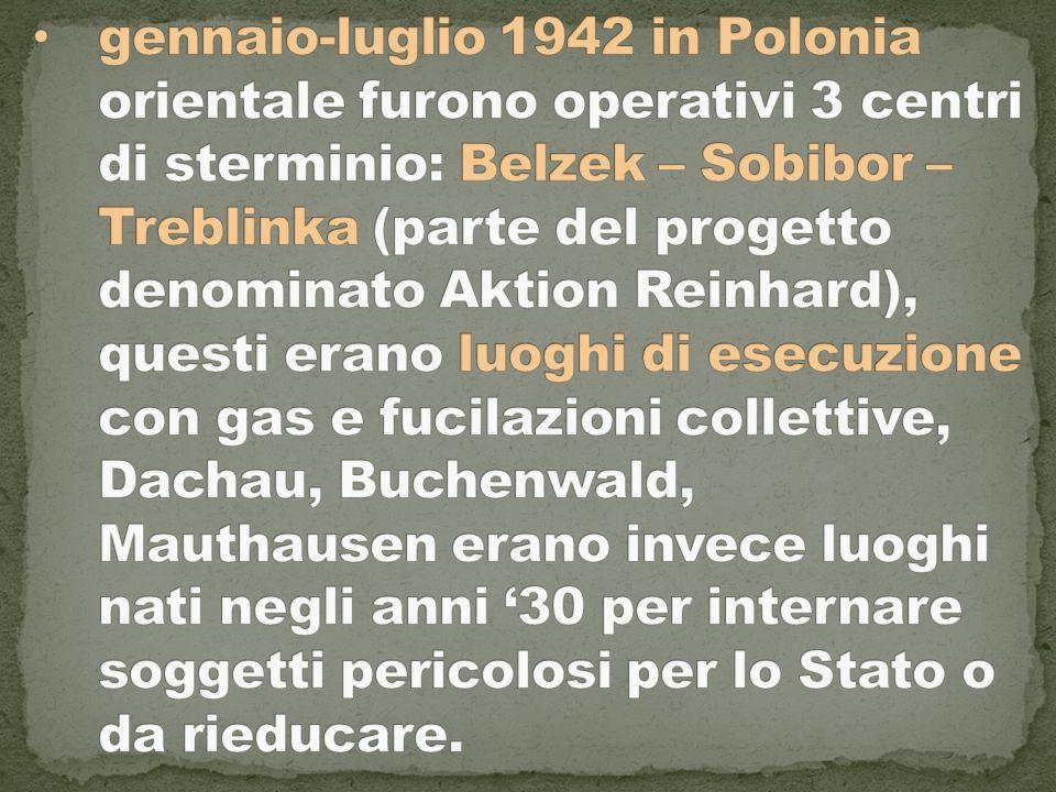 gennaio-luglio 1942 in Polonia orientale furono operativi 3 centri di sterminio: Belzek – Sobibor – Treblinka (parte del progetto denominato Aktion Reinhard), questi erano luoghi di esecuzione con gas e fucilazioni collettive, Dachau, Buchenwald, Mauthausen erano invece luoghi nati negli anni '30 per internare soggetti pericolosi per lo Stato o da rieducare.
