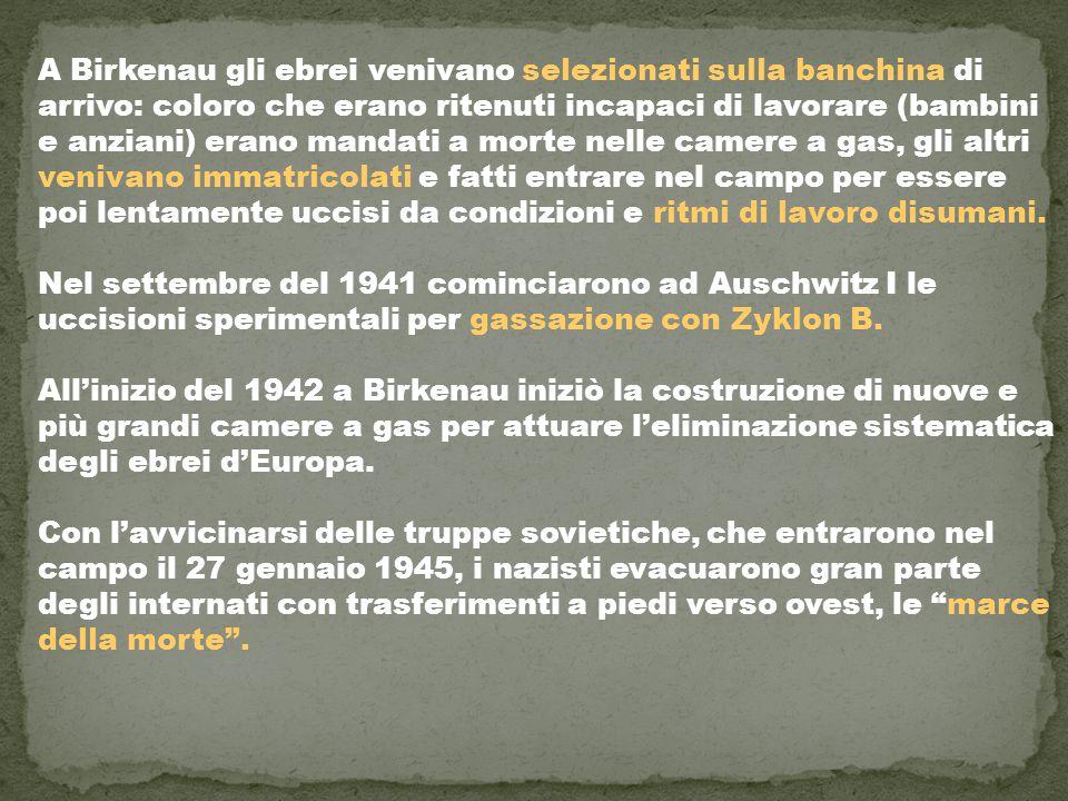 A Birkenau gli ebrei venivano selezionati sulla banchina di arrivo: coloro che erano ritenuti incapaci di lavorare (bambini e anziani) erano mandati a morte nelle camere a gas, gli altri venivano immatricolati e fatti entrare nel campo per essere poi lentamente uccisi da condizioni e ritmi di lavoro disumani. Nel settembre del 1941 cominciarono ad Auschwitz I le uccisioni sperimentali per gassazione con Zyklon B.