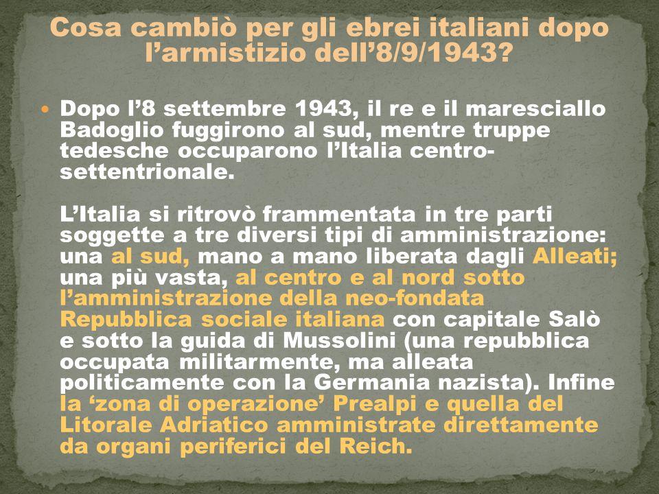 Cosa cambiò per gli ebrei italiani dopo l'armistizio dell'8/9/1943