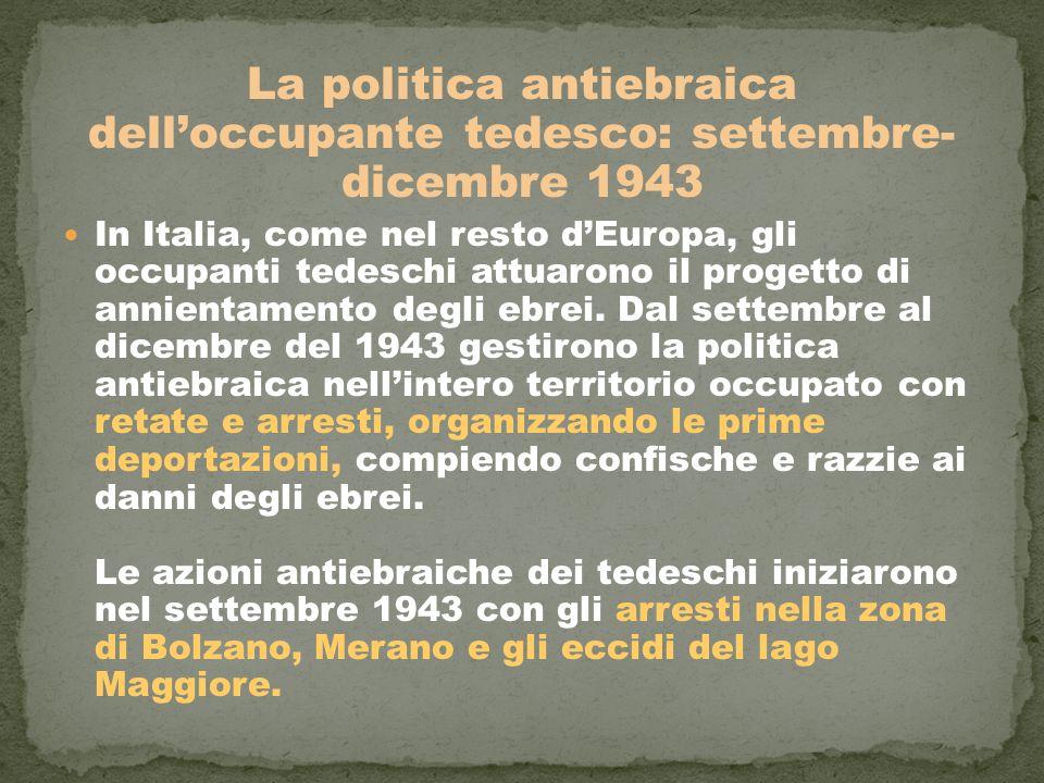 La politica antiebraica dell'occupante tedesco: settembre- dicembre 1943