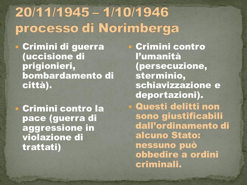 20/11/1945 – 1/10/1946 processo di Norimberga