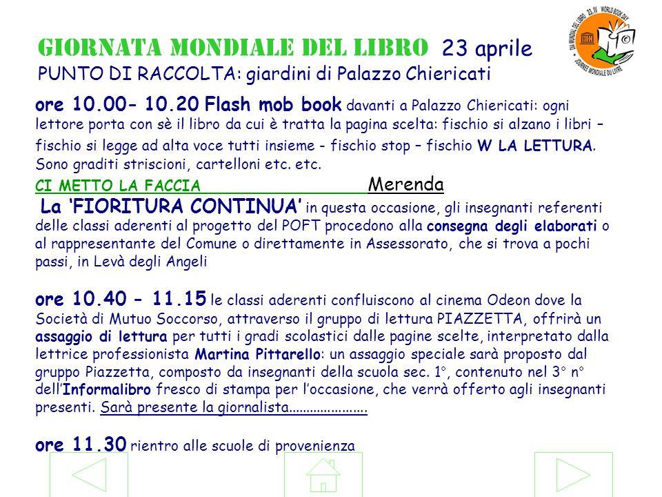 Giornata mondiale del libro 23 aprile PUNTO DI RACCOLTA: giardini di Palazzo Chiericati