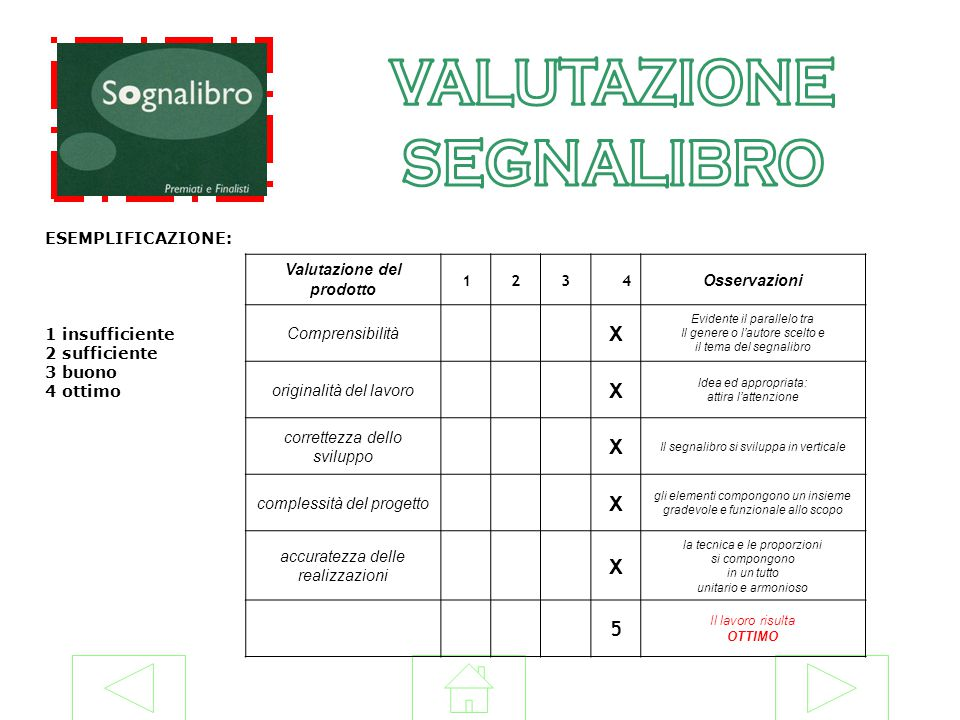VALUTAZIONE SEGNALIBRO X 5 ESEMPLIFICAZIONE: 1 insufficiente