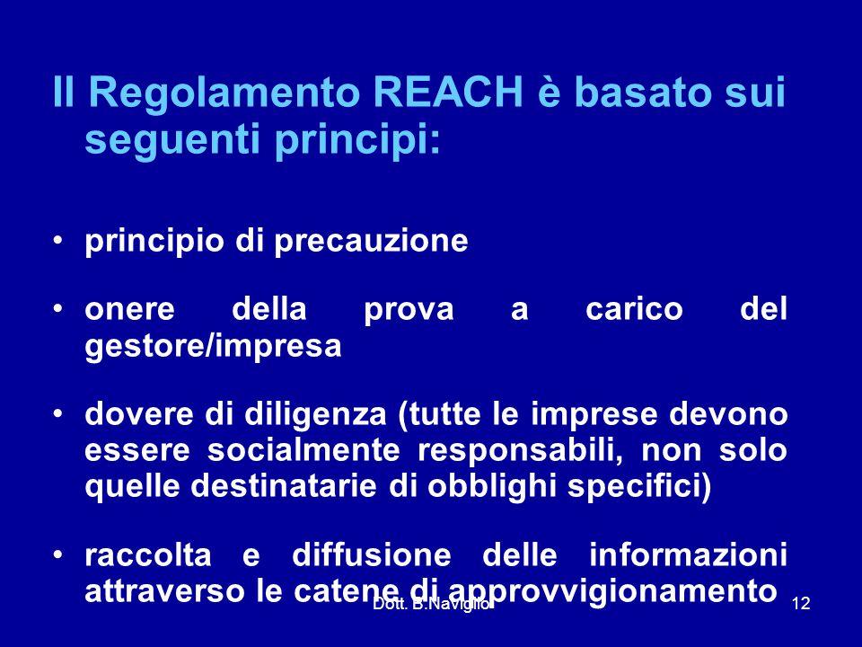 Il Regolamento REACH è basato sui seguenti principi: