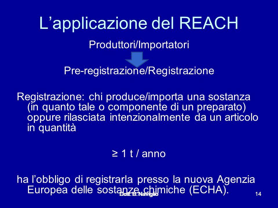 L'applicazione del REACH